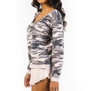 NWT Hard Tail Sparkle Camo Pullover - Large